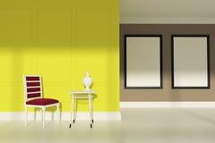 Sala de estar roja de la silla, dos carteles, amarillos Fotos de archivo