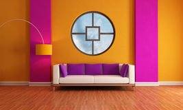 Sala de estar roxa e alaranjada Foto de Stock Royalty Free
