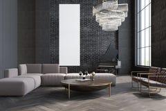 Sala de estar, sofá y tabla grises, cartel Foto de archivo libre de regalías