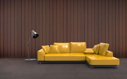 Sala de estar Sofa Yellow And Wall Composition mínimo Foto de archivo libre de regalías