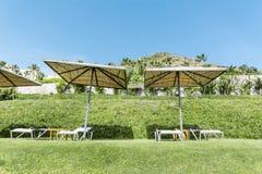 Sala de estar sunbed em um jardim verde Fotos de Stock Royalty Free
