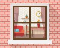 Sala de estar a través de la ventana Imágenes de archivo libres de regalías