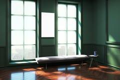 Sala de estar verde contemporánea con el cartel Fotos de archivo libres de regalías