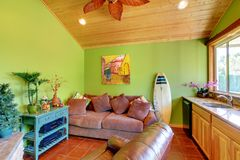 Sala de estar verde de la piscina de la playa en la pequeña casa. Imagen de archivo libre de regalías