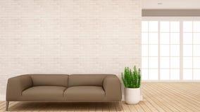 Sala de estar y área del pasillo en el apartamento o - diseño interior para las ilustraciones - la representación casera 3D ilustración del vector