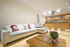 Sala de estar y cocina abiertas modernas del plan imagen de archivo
