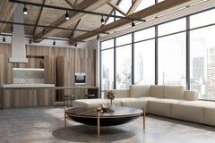 Sala de estar y cocina del desván ilustración del vector