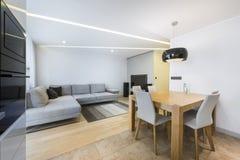 Sala de estar y cocina modernas foto de archivo libre de regalías