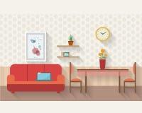 Sala de estar y comedor con muebles Imágenes de archivo libres de regalías