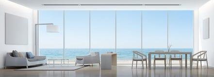 Sala de estar y comedor de la opinión del mar en casa moderna con el marco blanco Fotografía de archivo libre de regalías