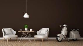 Sala de estar y motocicleta en la cafetería o el restaurante - representación 3D Fotos de archivo