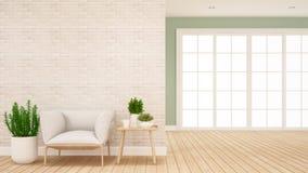 Sala de estar y ?rea del pasillo en el apartamento o - dise?o interior para las ilustraciones - la representaci?n casera 3D libre illustration