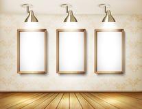 Sala de exposições com assoalho de madeira, placas brancas e luzes Fotografia de Stock