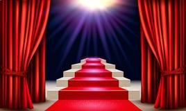 Sala de exposições com o tapete vermelho que conduz a um pódio com cortinas Imagens de Stock