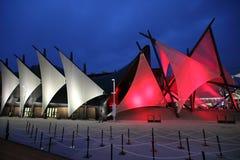 Sala de exposiciones iluminada en Milan Expo Imágenes de archivo libres de regalías