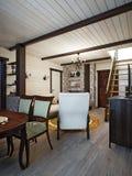 Sala de Farmhouse Living do artesão e ro rústicos tradicionais do jantar Imagens de Stock Royalty Free