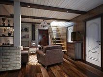 Sala de Farmhouse Living do artesão e ro rústicos tradicionais do jantar ilustração stock