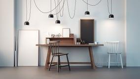Sala de funcionamento & rendição interior/3D moderna do escritório Foto de Stock Royalty Free