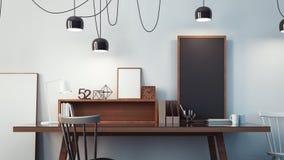 Sala de funcionamento & rendição interior/3D moderna do escritório Fotografia de Stock Royalty Free