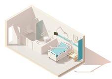 Sala de hospital polivinílica baja isométrica del vector ilustración del vector