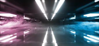 Sala de incandescência conduzida futurista do túnel da reflexão com fumo e para enevoar o espaço vazio para a tecnologia estrange ilustração stock