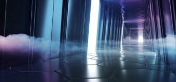 Sala de incandescência conduzida futurista do túnel da reflexão com fumo e para enevoar o espaço vazio para a tecnologia estrange ilustração do vetor