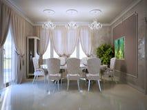 Sala de jantar acolhedor no estilo retro Fotos de Stock Royalty Free