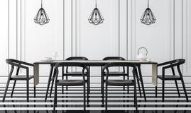 Sala de jantar clássica moderna com imagem preto e branco da rendição 3d Imagens de Stock Royalty Free