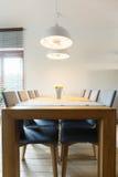 Sala de jantar com assoalho de madeira Foto de Stock Royalty Free