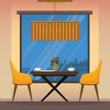 Sala de jantar com cadeiras amarelas Imagens de Stock Royalty Free