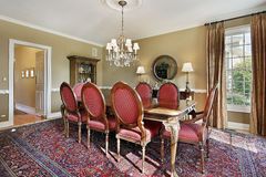 Sala de jantar com paredes do ouro Fotos de Stock