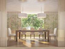 Sala de jantar contemporânea moderna com imagem da rendição da opinião 3d da natureza Imagens de Stock