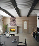 Sala de jantar da casa de verão, rendição 3d Fotografia de Stock