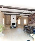 Sala de jantar da casa de verão, rendição 3d Fotos de Stock Royalty Free