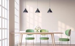 A sala de jantar do estilo do vintage com cadeira verde 3d rende Imagem de Stock Royalty Free
