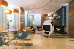 Sala de jantar grande com a chaminé no interior contemporâneo novo Foto de Stock Royalty Free