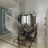 Sala de jantar interior em uma ilustração clássica do estilo 3d Fotos de Stock Royalty Free