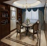 Sala de jantar interior em uma ilustração clássica do estilo 3d Imagens de Stock Royalty Free