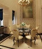 Sala de jantar interior em uma ilustração clássica do estilo 3d Foto de Stock Royalty Free