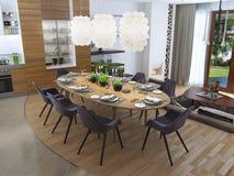 Sala de jantar luxuosa em um estilo contemporâneo Imagem de Stock Royalty Free