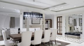Sala de jantar minimalista moderna fotografia de stock