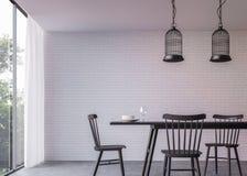 Sala de jantar moderna do sótão com imagem da rendição da opinião 3d da natureza Imagens de Stock Royalty Free