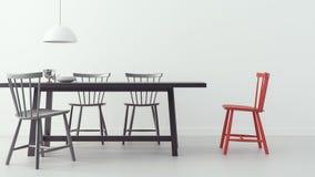 A sala de jantar moderna & o fundo branco 3d rendem a imagem Imagens de Stock