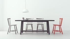 A sala de jantar moderna & o fundo branco 3d rendem a imagem Fotografia de Stock