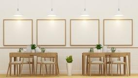 Sala de jantar ou café e quadro para a arte finala - rendição 3D Foto de Stock