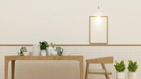 Sala de jantar ou café e quadro para a arte finala - rendição 3D Fotos de Stock Royalty Free