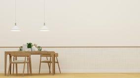Sala de jantar ou café e quadro para a arte finala - rendição 3D Imagens de Stock Royalty Free