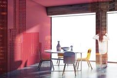 Sala de jantar vermelha panorâmico de Minimalistic, mulher Fotografia de Stock Royalty Free