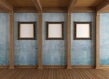 Sala de madeira velha com quadro clássico Fotos de Stock Royalty Free
