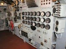 Sala de mando del museo de portaaviones Imagenes de archivo